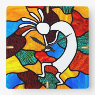 Kokopelli Stained Glass Square Wall Clock