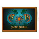Kokopelli Sun Christmas Template Greeting Cards
