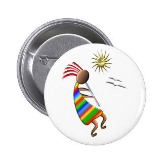 Kokopelli Sun y pájaros Pin Redondo De 2 Pulgadas