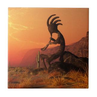 Kokopelli Sunset Ceramic Tile