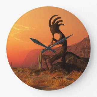Kokopelli Sunset Large Clock
