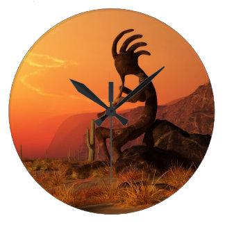 Kokopelli Sunset Large Clock
