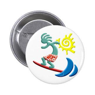 Kokopelli Surfing 2 Inch Round Button