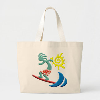 Kokopelli Surfing Large Tote Bag
