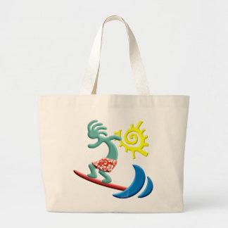 Kokopelli Surfing Large Tote Bag