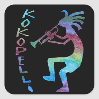 Kokopelli toca la trompeta pegatina cuadrada