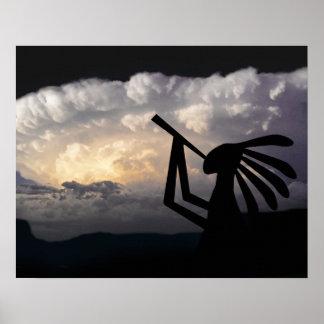 Kokopelli trae la impresión de la lluvia posters