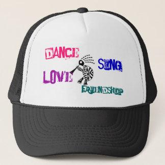 kokopelli-turtle, Dance, Sing, Love, Friendship Trucker Hat