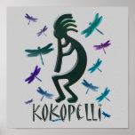 Kokopelli with Dragonflies Poster