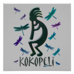 Kokopelli with Dragonflies Posters