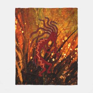Kokopelli with Fire Flies 50 x60 Fleece Blanket