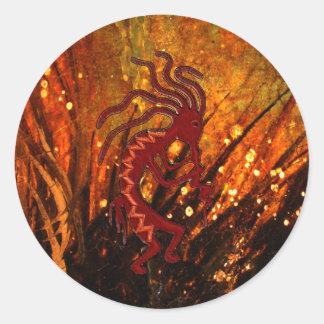 Kokopelli with Fireflies Classic Round Sticker