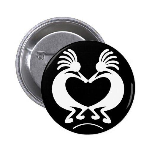 Kokopelli with heart 2 inch round button
