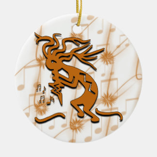 Kokopelli With Musical Notes Ceramic Ornament