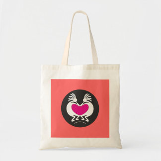 Kokopelli with pink heart canvas bag
