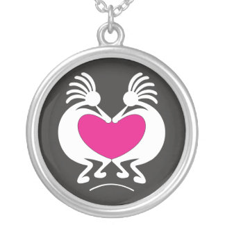 Kokopelli with pink heart Valentine's day Round Pendant Necklace