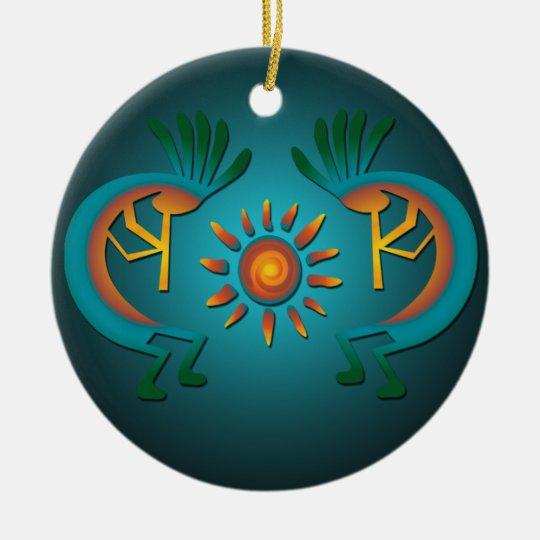 Kokopelli with Sun Christmas Ornament