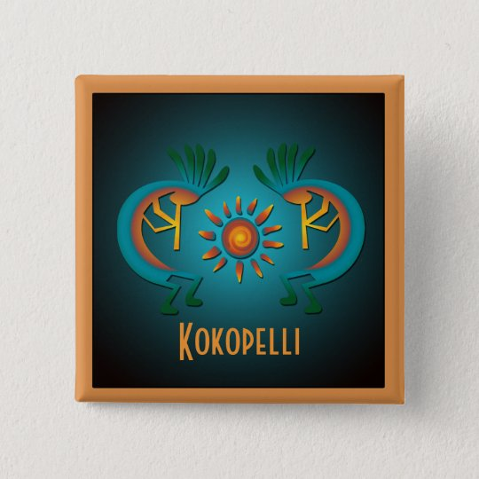 Kokopelli with Sun Custom Button