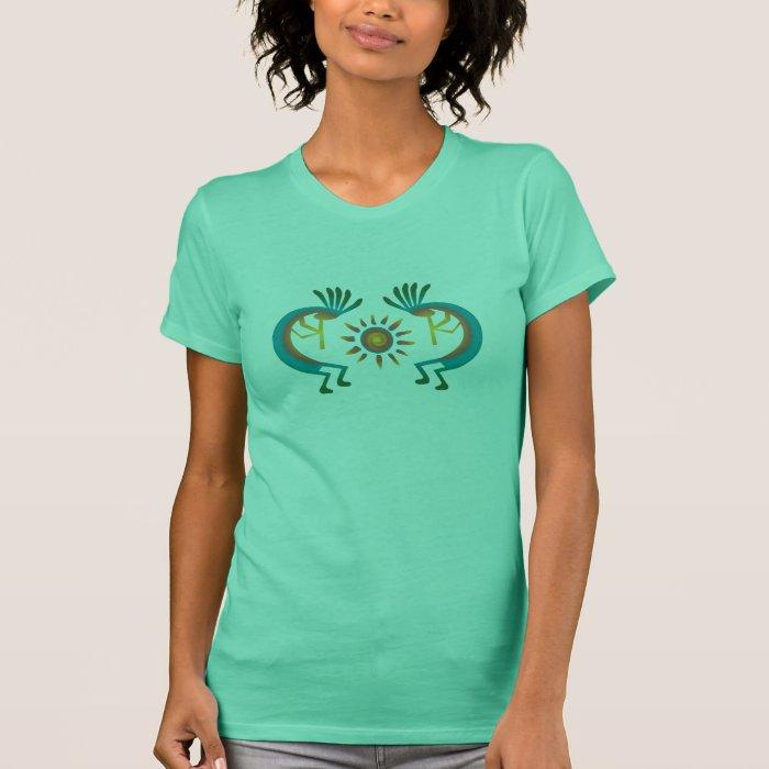 Kokopelli with Sun Southwest Mint Tee Shirt