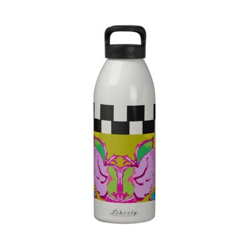 Kollam con las rayas blancos y negros botellas de agua reutilizables