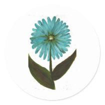 Kolleen's Teal Flower 2 Classic Round Sticker