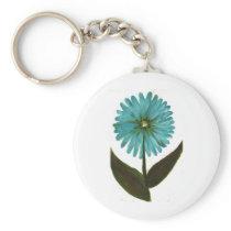 Kolleen's Teal Flower 2 Keychain