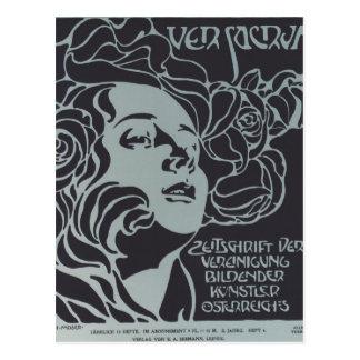 Koloman Moser-Girl's Head. Cover design Ver Sacrum Postcard