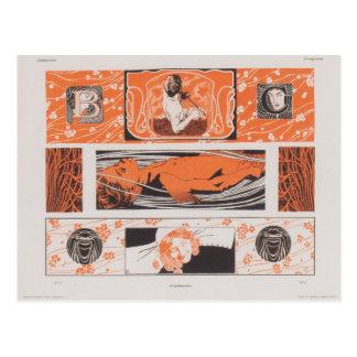 Koloman Moser- Head strips Postcard