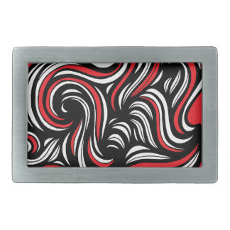 Koloski Abstract Expression Red White Black Rectangular Belt Buckles