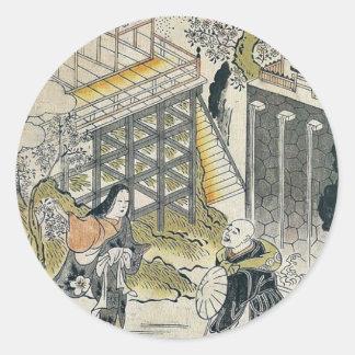 Komachi at Kiyomizu Temple by Torii Kiyomasu Stickers