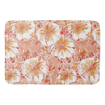 Beach Themed KOMBUCHA-CHA Peach Tropical Hibiscus Pattern Bath Mat