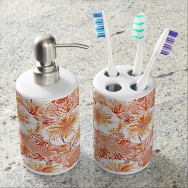 Beach Themed KOMBUCHA-CHA Peach Tropical Hibiscus Pattern Bathroom Set