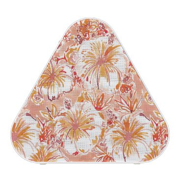 Beach Themed KOMBUCHA-CHA Peach Tropical Hibiscus Pattern Bluetooth Speaker