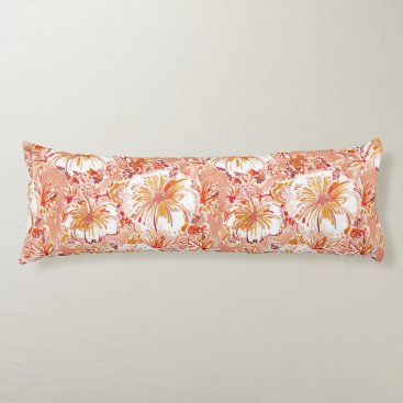 Beach Themed KOMBUCHA-CHA Peach Tropical Hibiscus Pattern Body Pillow