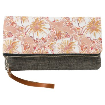 Beach Themed KOMBUCHA-CHA Peach Tropical Hibiscus Pattern Clutch