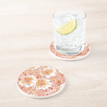 Beach Themed KOMBUCHA-CHA Peach Tropical Hibiscus Pattern Coaster