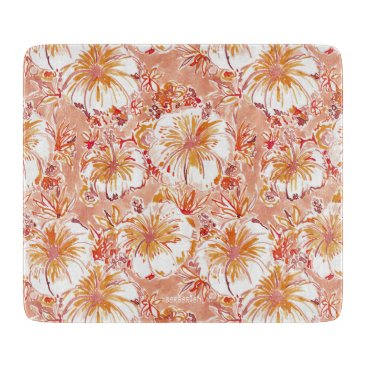 Beach Themed KOMBUCHA-CHA Peach Tropical Hibiscus Pattern Cutting Board