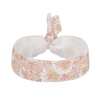 KOMBUCHA-CHA Peach Tropical Hibiscus Pattern Hair Tie