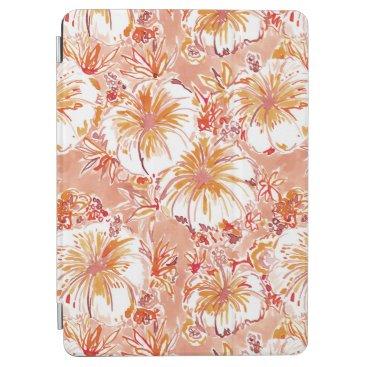 Beach Themed KOMBUCHA-CHA Peach Tropical Hibiscus Pattern iPad Air Cover