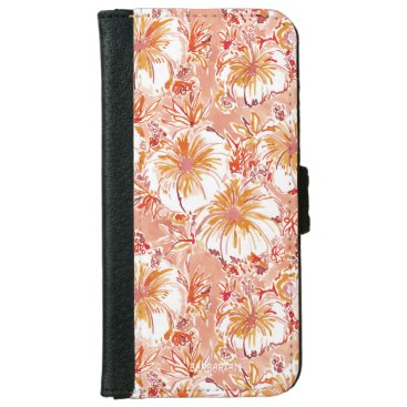 Beach Themed KOMBUCHA-CHA Peach Tropical Hibiscus Pattern iPhone 6/6s Wallet Case