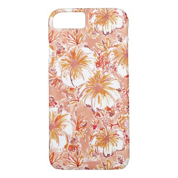 Beach Themed KOMBUCHA-CHA Peach Tropical Hibiscus Pattern iPhone 7 Case