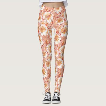 Beach Themed KOMBUCHA-CHA Peach Tropical Hibiscus Pattern Leggings