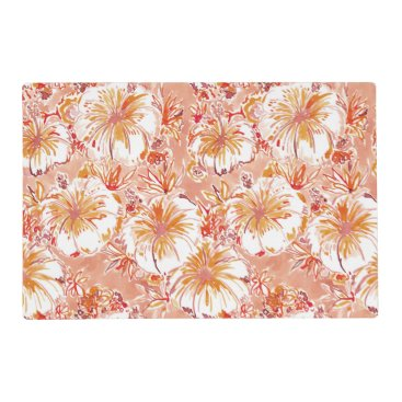 Beach Themed KOMBUCHA-CHA Peach Tropical Hibiscus Pattern Placemat