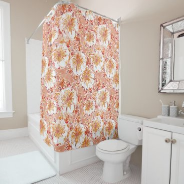 Beach Themed KOMBUCHA-CHA Peach Tropical Hibiscus Pattern Shower Curtain