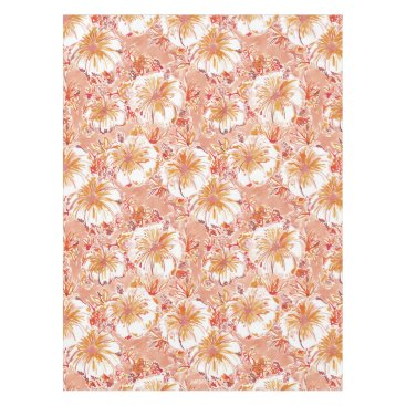 Beach Themed KOMBUCHA-CHA Peach Tropical Hibiscus Pattern Tablecloth