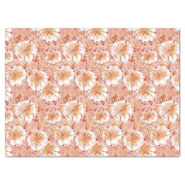 Beach Themed KOMBUCHA-CHA Peach Tropical Hibiscus Pattern Tissue Paper