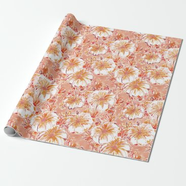 Beach Themed KOMBUCHA-CHA Peach Tropical Hibiscus Pattern Wrapping Paper