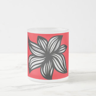 Komlos Abstract Expression Red Black 10 Oz Frosted Glass Coffee Mug