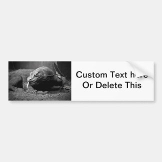 komodo dragon black and white tongue out left bumper sticker