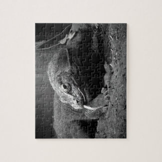 komodo dragon black and white tongue out left jigsaw puzzle